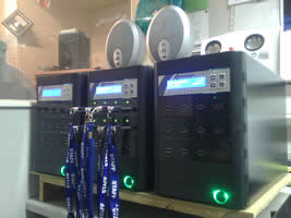 Picture showing our new memory stick duplicators in action